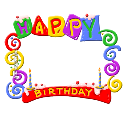 colorful happy birthday photo frame e-card