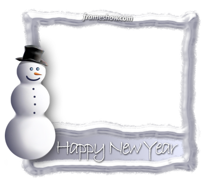 Happy New Year snowman photo frame e-card