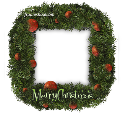 Christmas garland photo frame ecard