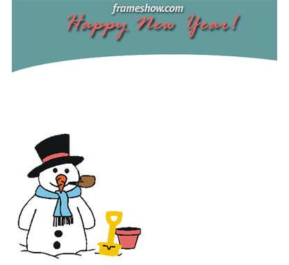 snowman happy new year picture frame e-card