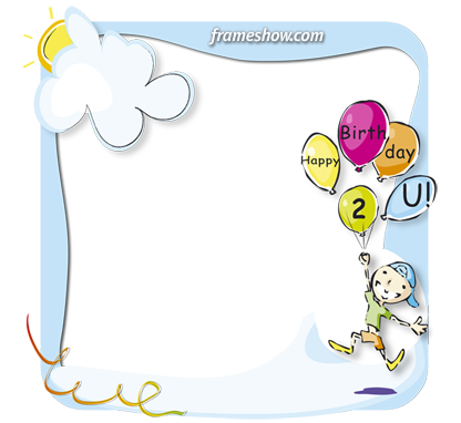 kid with floating balloons Happy Birthday photo frame ecard
